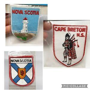VTG-NOVA-SCOTIA-Patches-Lot-of-3-Crest-Cape-Breton-Bagpipe-Lighthouse