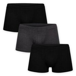 Men-3-Pack-Form-Fitting-Short-Trunk-Jersey-Cotton-Black-Grey-Boxer-Shorts-Briefs