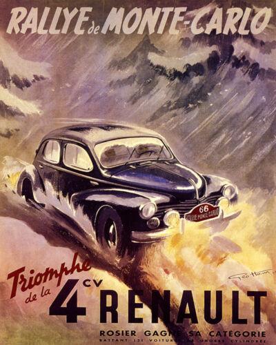 POSTER RALLYE DE MONTE CARLO 4CV RENAULT FRENCH CAR RACE VINTAGE REPRO FREE S//H