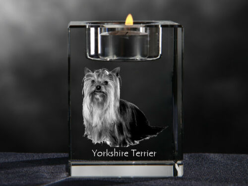 Yorkshire Terrier, crystal candlestick with dog, souvenir, Crystal Animals CA