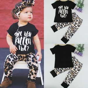b8efc8533 Details about 2pcs Toddler Kids Baby Girls Outfit T-shirt Tops+Long Pants  Leggings Clothes Set