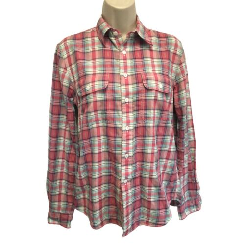 Double RL RRL Pink & Green Plaid Work Shirt Top Wo