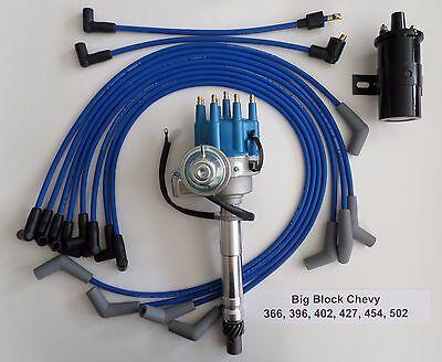 BIG BLOCK CHEVY 396-427-454 BLUE Small HEI Distributor+Black 45K COIL+PLUG  WIRES | eBayeBay