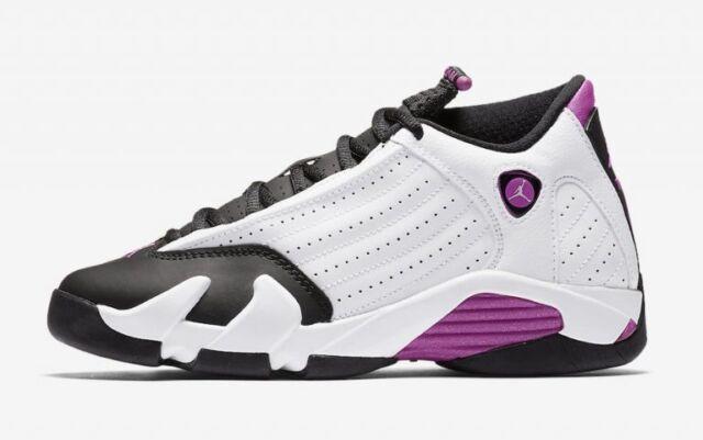 release date 8c10b ea065 Nike Air Jordan Retro XIV 14 White Fuchsia Blast Black Pink Purple  654969-119 GS