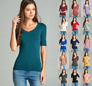 Women Basic Elbow Sleeve Stretch V-Neck Plain Top Solid Color T ... ab6fd1923