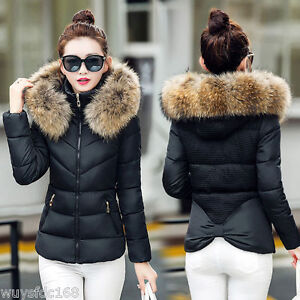 New-Winter-Women-039-s-Down-Cotton-Parka-Short-Fur-Collar-Hooded-Coat-Quilted-Jacket