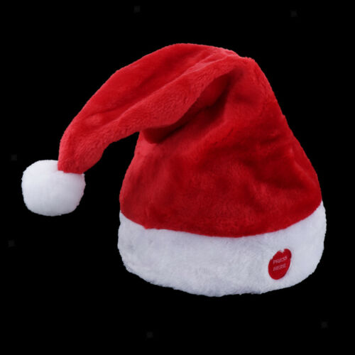 Red Electric Musical Santa Claus Hat Plush Toy Swing Hat Creative Christmas Cap