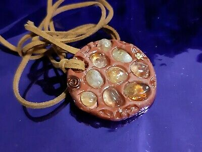 Ciondolo in CELESTINA CELESTITE Montato a Mano COLLANA Artigianale Minerali A+