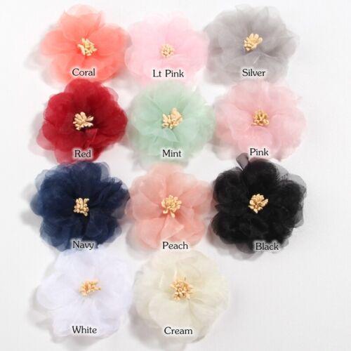 "120PCS 6CM 2.3/"" Chiffon Artificial Fabric Flowers For Hair Accessories Wedding"
