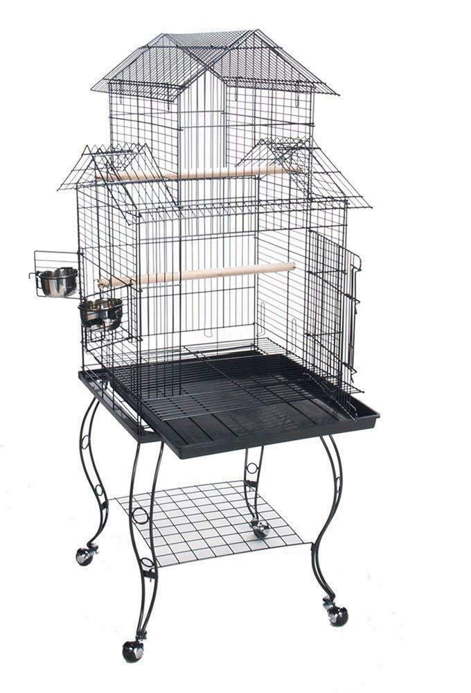 Birdcage with Stand Parakeet Finch Metal Grate Indoor Bird Cage Enclosure Perch