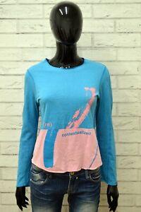 Maglia-LEVIS-Donna-Taglia-Size-S-Maglietta-Shirt-Woman-Manica-Lunga-Cotone-Lana