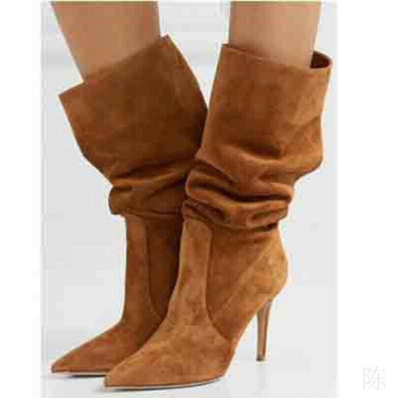 Damen Slouch Stiletto High Heel Spitz Faux-Wildleder Wadenhohe Stiefel Outdoor