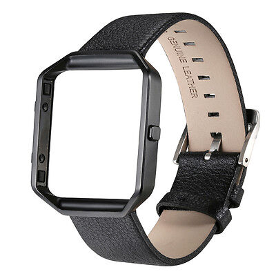 New Genuine Leather Watch Bands w/ Steel Frame For Fitbit Blaze Wrist Band Strap
