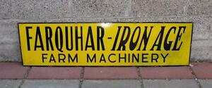 Vintage-Old-Farquhar-Tractor-IRON-AGE-porcelain-sign-check-out-my-listed-neon