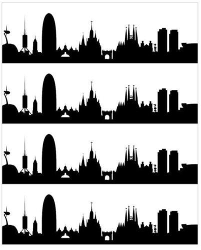 City Skyline Silhouette Comestible Glaçage Gâteau Ruban Bandes pas Silhouette Cut Out