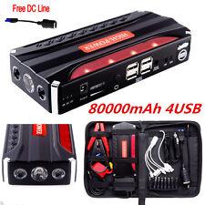 80000mAh Car Jump Starter 4USB Emergency Charger Booster Power Bank Battery SOS