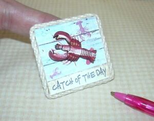 Miniature-3-D-Beach-Picture-Sign-034-Catch-of-the-Day-034-w-Lobster-DOLLHOUSE-1-12