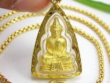 """THAI FAMOUS BUDDHA SOTHORN AMULET + 22"""" FINE CHAIN 22K 24K Gold GP Necklace GT7"""