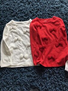 2-Carter-s-Holiday-Shirts-Red-Abs-White-Bows-3T-NWT