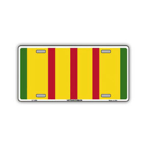 Novelty-Metal-License-Plate-Tag-Cover-Vietnam-Bar-Ribbon-Conflict-Colors