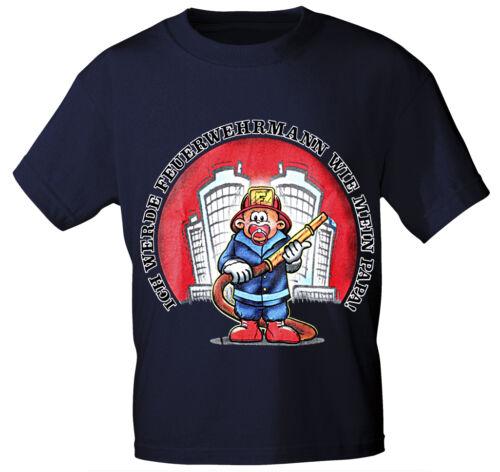 Kinder ♥ Baby T-Shirt Feuerwehr Feuerwehrmann = Papa 86-164 ○08117 blau○