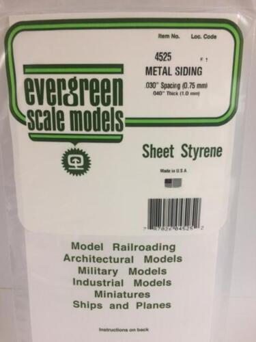 """.030/"""" Opaque White Styrene Corrugated Siding by Evergreen Scale Models EVG4525"""