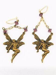 Fantastic-Brass-tone-Vintage-Fairy-Dangle-Pierced-Earrings