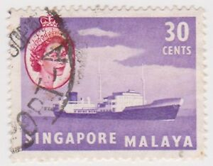 Details about (K65-111) 1955 Singapore 30c violet lake oil tanker (space  filler) (AJ)
