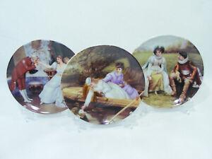 Lot de 3 petites assiettes décoratives MOVITEX + présentoirs 13cm vintage retro