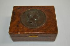 Burl Wood Art Nouveau Antique Trinket Box W/Broze Julius Ceasar Medallion Inlaid