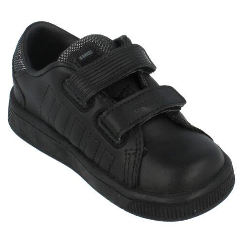 SALE Boys LOZAN II STRAP DX Black Leather School  Trainers By K Swiss £9.99