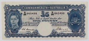 SUPER-RARE-aUNC-1949-R47-COOMBS-WATT-5-POUNDS-FIVE-POUNDS-NOTE-R88-865498