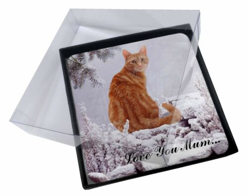 4x Ginger Snow Cat 'Love You Mum' Picture Table Coasters Set in Gift , AC63lymC
