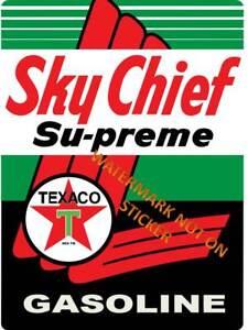 VINTAGE-SKY-CHIEF-TEXACO-GASOLINE-PETROL-DECAL-STICKER-LABEL-350-TALL-250-WIDE
