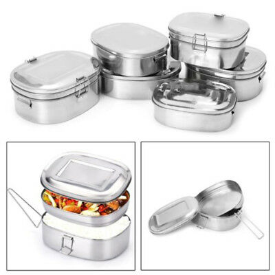 2cd2a4c36119 Stainless Steel Square Lunch Box Bento Food Picnic Container Travel 1/2  Layer | eBay