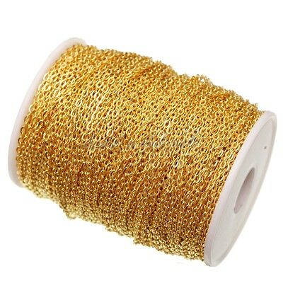 silver / gold plated cable open link iron metal chain findings 1m/5m/100m