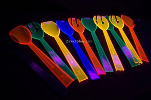 12 Pc 9.5 inch Neon Assorted Blacklight Reactive Serveware