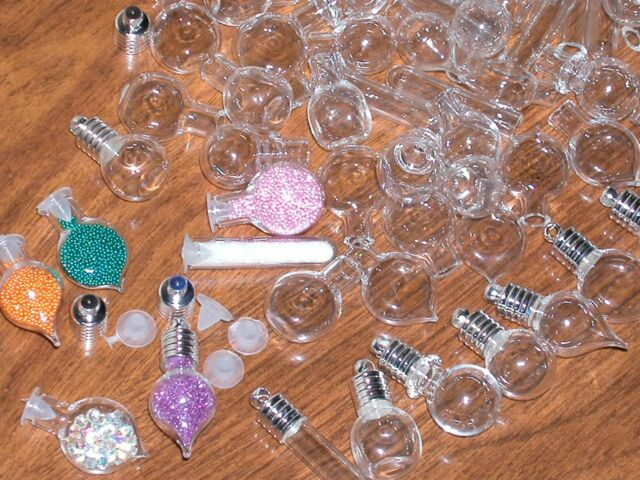 30 Huge Lot Glass bottles vials charms pendants kit rice writing tubes round MIX