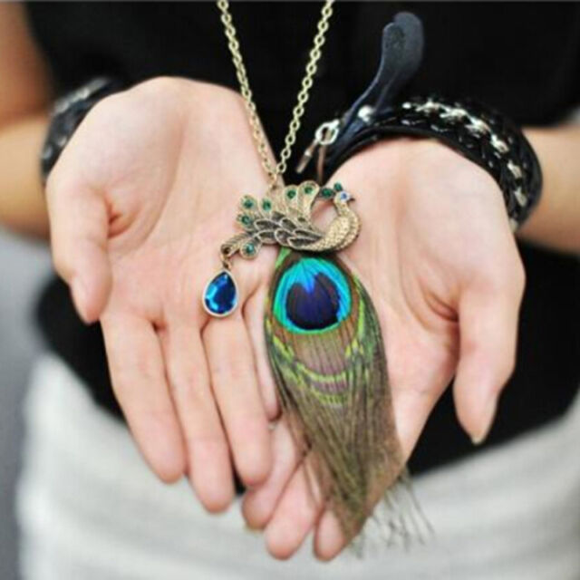 80CM Peacock Feathers Pendant Necklace For Women Jewelry Chain Decor jN