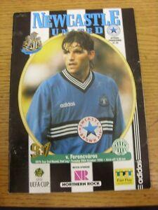 29-10-1996-Newcastle-United-v-Ferencvaros-UEFA-Cup-creased-Footy-Progs-Bobf