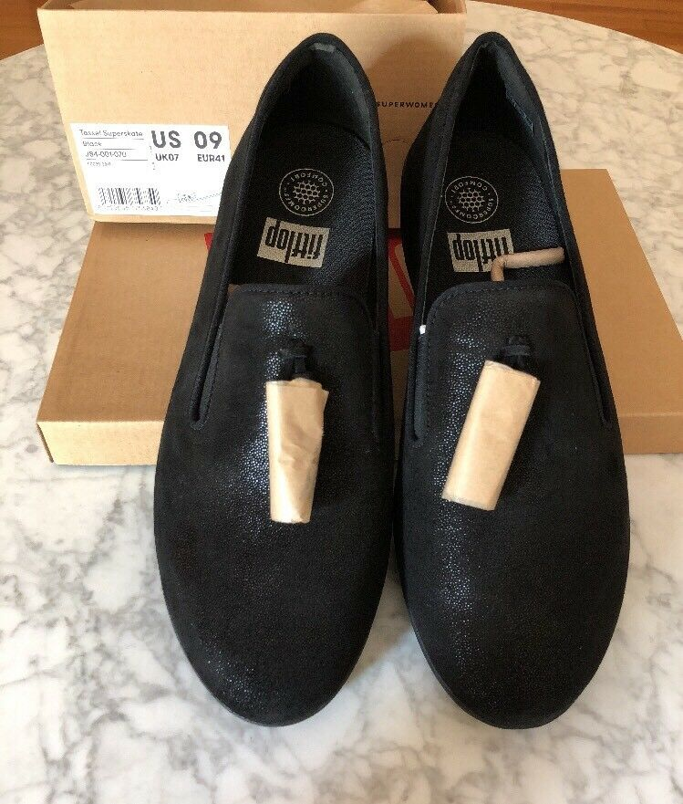 NEW! FITFLOP Tassel Supeskate Black Shoes 9