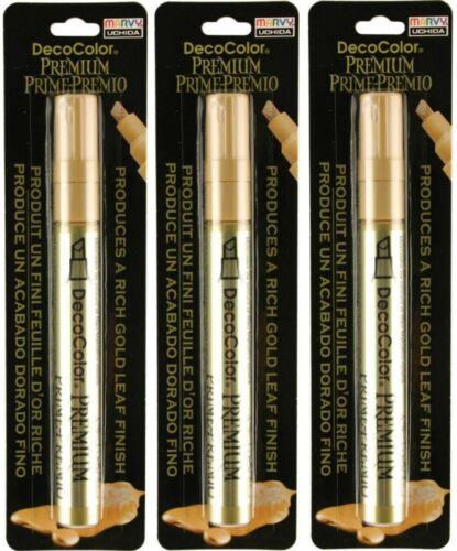 3 Pk Marvy Uchida DecoColor Premium Gold Leaf Opaque Paint Marker Lg Chisel Tip