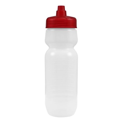 100 Bulk Pack 24 Ounce Water Bottles Frosted Bottle With Red Lids USA Made