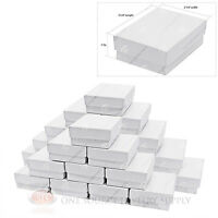 25 White Swirl Cardboard Cotton Filled Jewelry Gift Boxes 3 1/4 X 2 1/4 X 1