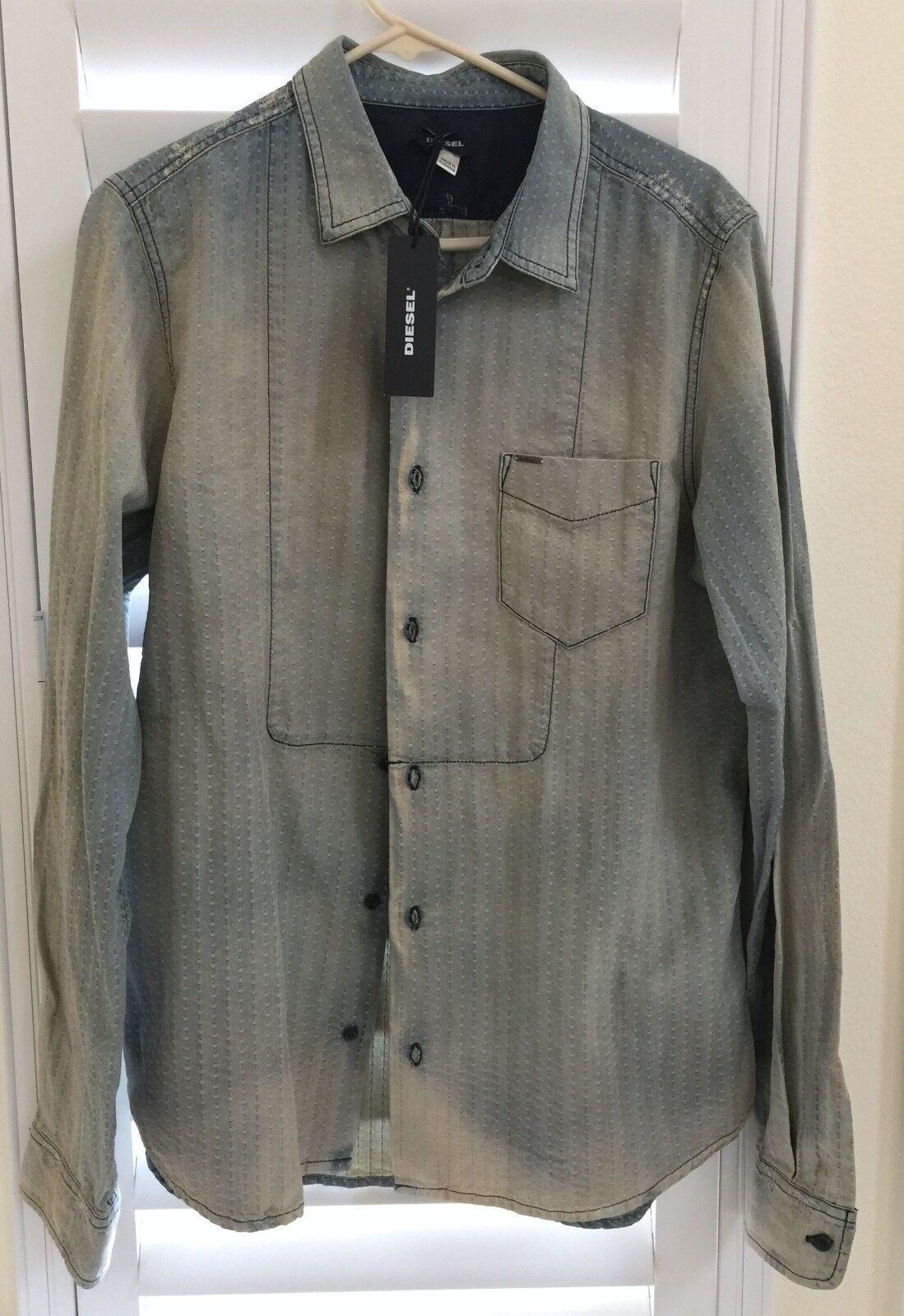 Diesel Mens JEDD-C Denim Shirt Size XLarge Long Sleeve Distressed Faded bluee NEW