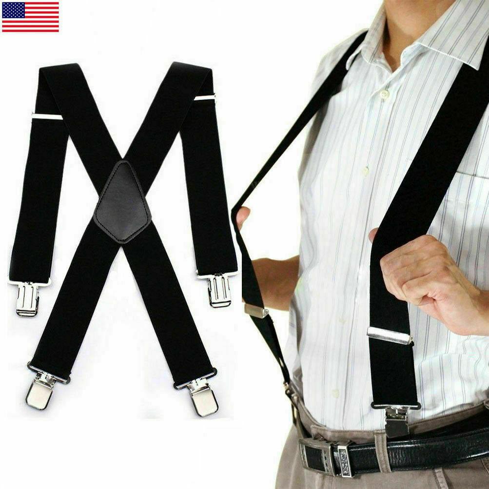 Men's Elastic Clip-on Suspenders Leather Braces X-back Belt Black Adjustable 2
