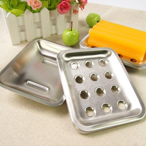 2 Pcs//Set Stainless Steel Bathroom Shower Soap Box Dish Storage Holder Case G