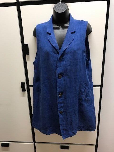 Veritecoeur Japan One Size Linen Light Medium Indigo Collar Long Vest