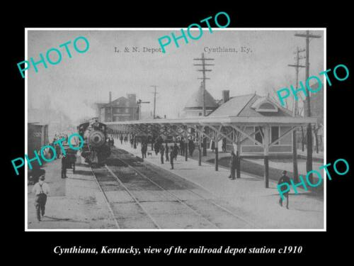 OLD 8x6 HISTORIC PHOTO OF CYNTHIANA KENTUCKY, THE RAILROAD DEPOT STATION c1910