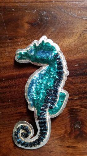Patch Seepferdchen rot grün blau mit Pailletten Glitzer DIY Basteln Aufnäher
